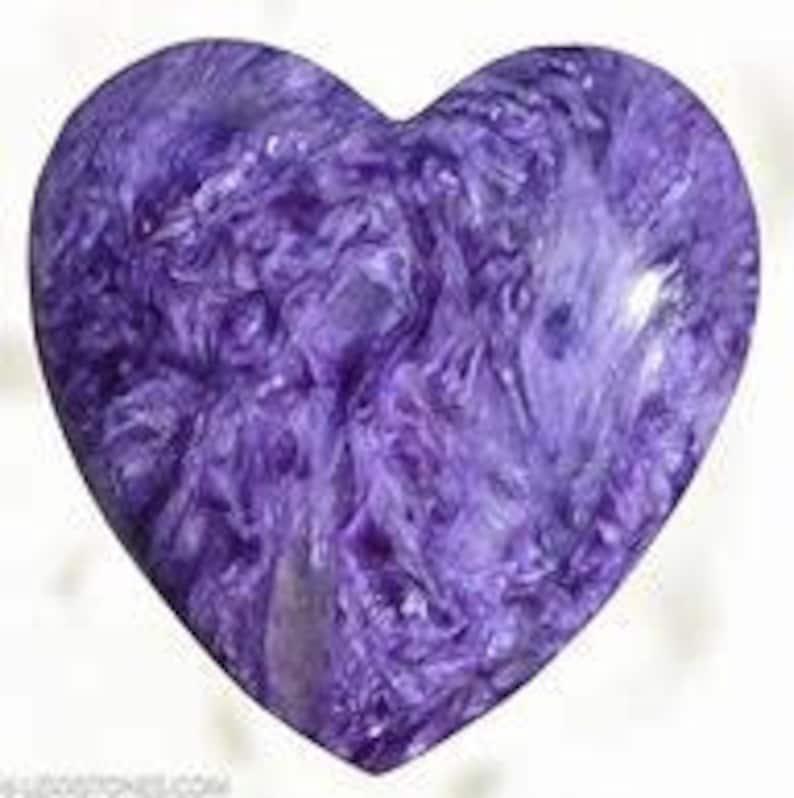 10 Pieces Lot Natural Charoite heart Shape Loose Cabochon