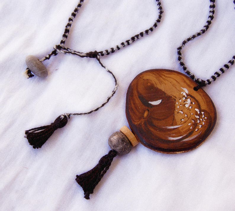 Pyrography necklace Round pendant Macrame cord Olive wood pendant Winter hippie jewelry Long wooden  pendant Handmade jewelry