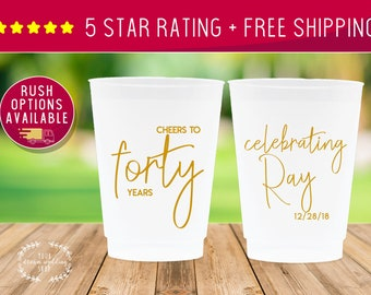 40th Birthday Personalized Cups 1240 Cocktail Cups Party Cups Forty Wedding Cups Engagement Plastic Cups Bachelorette Birthday Cups