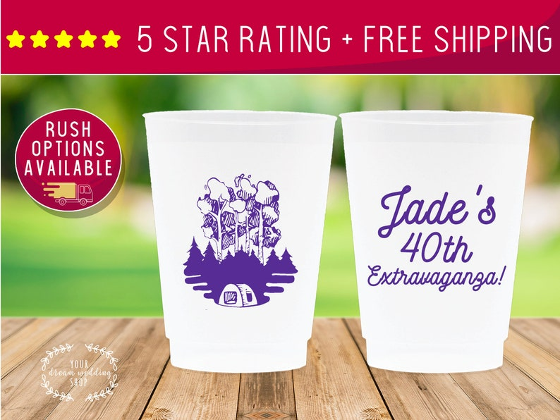Birthday Cups 40th Birthday Plastic Cups Stadium Cups Custom Cups Party Cups Frosted Cups 12oz Personalized Cups Custom Birthday Cup