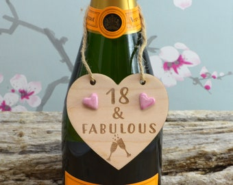 18 & Fabulous Wine Bottle Charm Tag,  Plaque, Gift,  Sign, Keepsake, Birthday Gift For A Friend