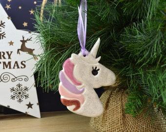 Handmade Ceramic Unicorn Christmas Tree Decoration and Christmas Decor