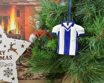 WBA West Bromwich Albion Ceramic Football Shirt Christmas Tree Hanger, Gift For Him, Dad, Grandad