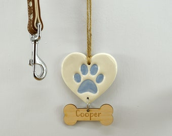 Handmade Ceramic Personalised Blue Paw Print Hanger, Christmas Tree Decoration & Keepsake for Dogs