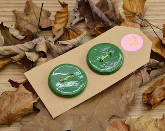 A Pair Of Handmade Ceramic Buttons, For Fashion, Sewing, Haberdashery, Clothing, Craft, Upcycling