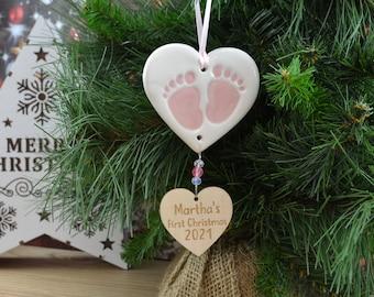 Personalised Baby Girl's 1st Christmas Tree Decoration, Baby's Christmas Keepsake, Handmade Ceramic Hanging Heart With Footprints