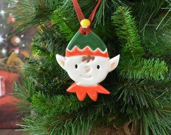 Handmade Ceramic Cheeky Elf Christmas Tree Decoration