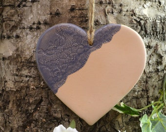 Large Handmade Ceramic Wall Hanging Heart With Lace Pressed Detail, Home Decor, Gift