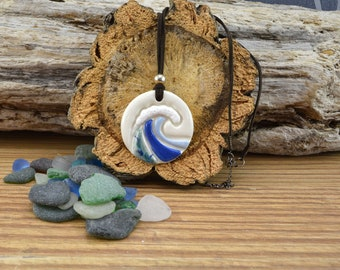 Handmade Ceramic Wave / Surf Necklace, Gift For Him,Her Birthday Gift