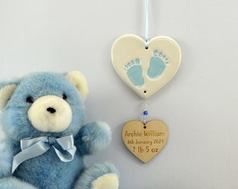 Personalised New Baby Boy, New Baby Keepsake, Handmade Ceramic Hanging Heart With Footprints