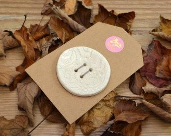 Large Handmade Ceramic Button, For Fashion, Sewing, Haberdashery, Clothing, Upcycling