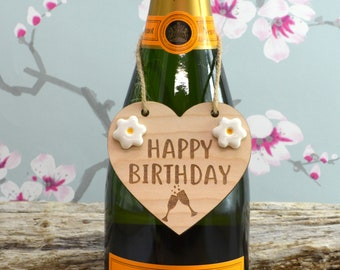 Happy Birthday Wine Bottle Charm Tag,  Plaque, Gift,  Sign, Keepsake, Birthday Gift For A Friend