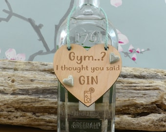 Gym...? I thought You Said Gin Bottle Charm, Gift For Mum, Gift For Her, Birthday, Christmas, Gin Lover
