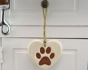White and Brown Handmade Ceramic Paw Print, Christmas Tree Decoration, Home Decor