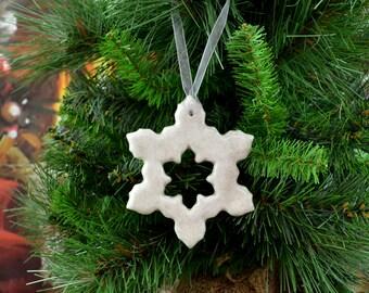 Handmade Ceramic Snowflake Christmas Tree Decoration