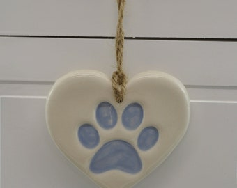 White and Blue Handmade Ceramic Paw Print, Christmas Tree Decoration, Home Decor