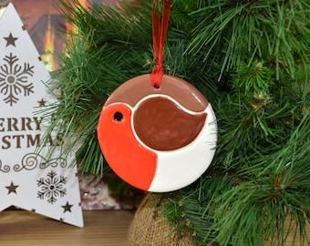 Handmade Ceramic Robin Christmas Tree Decoration Hanger