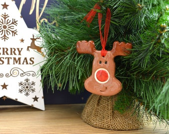 Handmade Ceramic Christmas Reindeer Hanging Christmas Tree Decoration