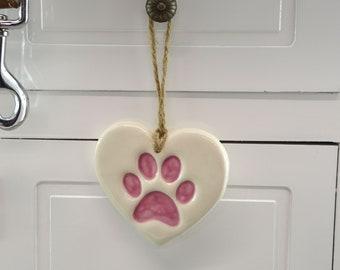 White and Pink Handmade Ceramic Paw Print, Christmas Tree Decoration, Home Decor