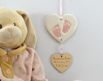 Personalised New Baby Girl, New Baby Keepsake, Handmade Ceramic Hanging Heart With Footprints