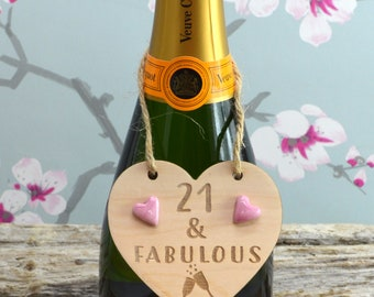 21 & Fabulous Wine Bottle Charm Tag,  Plaque, Gift,  Sign, Keepsake, Birthday Gift For A Friend