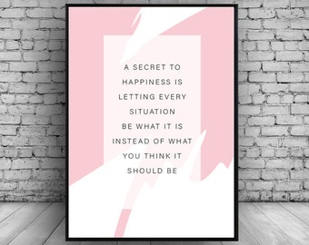 Minimal Typograhy Quote Pink Modern Contemporary Wall Print Wall Art Home Decor Poster Gift