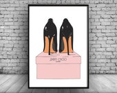Shoe Illustration Home Decor Wall Hanging Wall Decor Art Picture Poster Wall Art Jimmy Choo A4 A3 A5