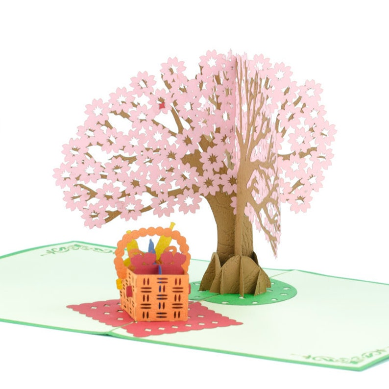 Handmade Gift Celebration Handcrafted Picnic Tree Pop Up Card