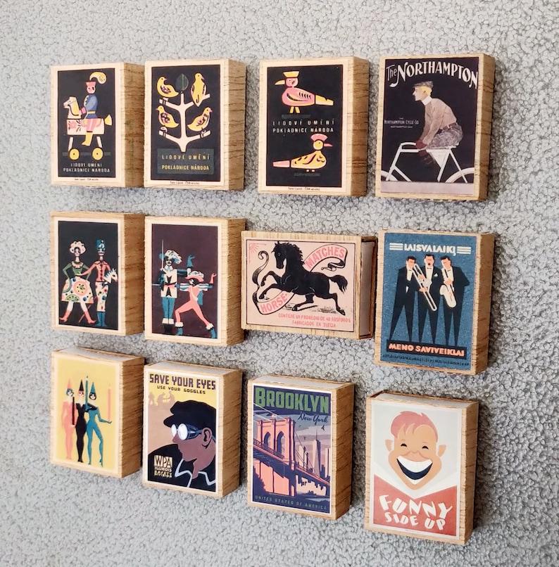 12 Wood Boxes with Magnet Vintage Poster Art Reproduction Souvenirs