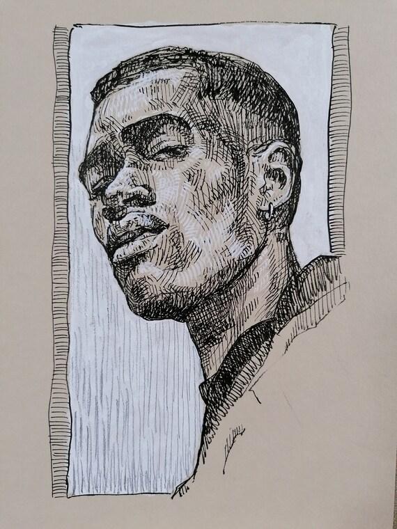 ORIGINAL DRAWING on paper Hand made artwork Realism art Figurative art Black man portrait Original ink drawing Original art drawing