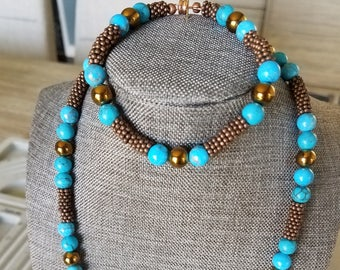 Reduced, beautifully crafted copper-toned hemetite and blue agate necklace & bracelet set, with copper toned beads. FREE SHIPPING in US.