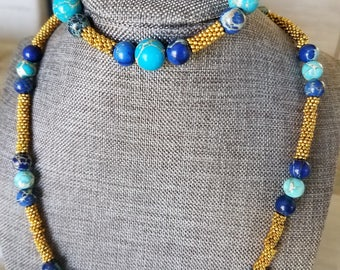 Price Reduced! Beautifully crafted blue agate bracelet and necklace SET with gold toned beads. FREE shipping in United States!