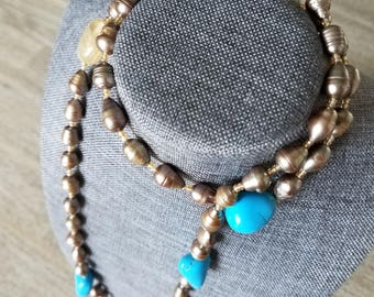 """Lovely Long Pearl, Lemon Quartz and Turquoise beaded Necklace. 47"""". Wear long or as choker. PRICE INCLUDES SHIPPING."""