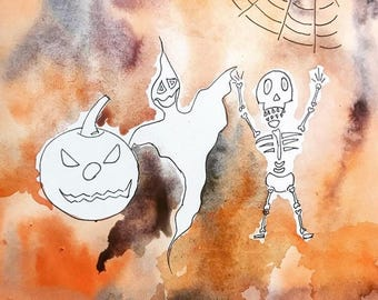 Happy Halloween watercolour