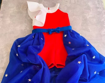 Red white and blue scuba neoprene outfit with stars/ Patriotic romper/ The Fourth of July jumpsuit/ Independence Day girls outfit