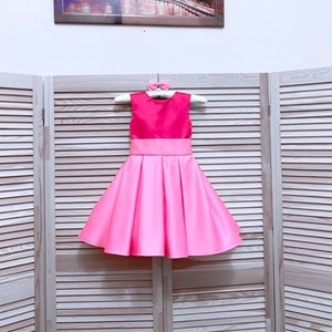 Hot Pink Pageant dress with bow Girls satin Homecoming dress Pageant outfit Custom pageant dress Cocktail hot pink Interview girls dress