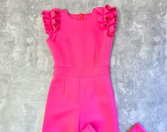80a9c6e4d6fa Bright pink girls neoprene jumpsuit with ruffle  Casual romper  Girls  casual wear  Ruffles romper  Custom outfit