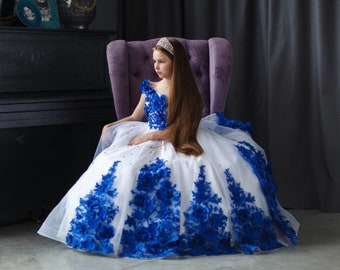 e148ccef258 White and royal blue pageant dress  Tulle lace girls dress  Flower girl  dress  Birthday Wedding dress  Teens gown  Custom pageant dress