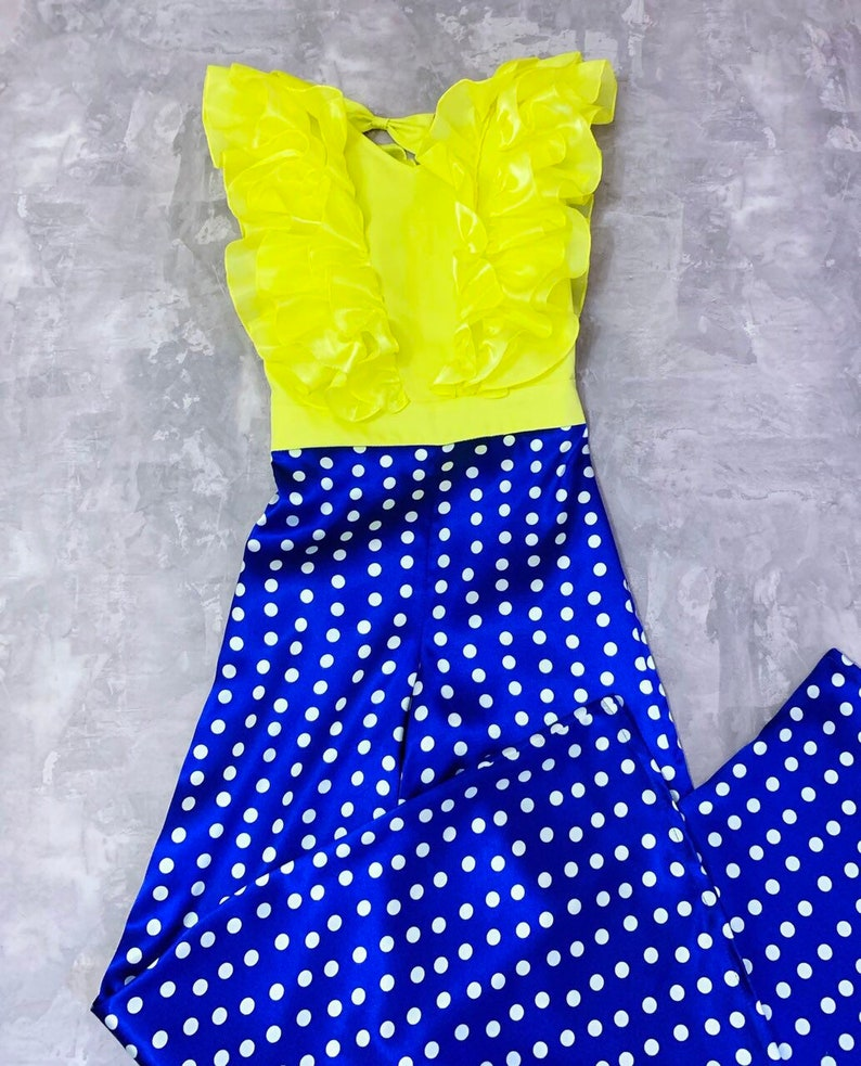 Hot yellow girl jumpsuit with ruffle and royal blue polka dots pants Casual romper Girls casual wear Ruffles romper Custom outfit