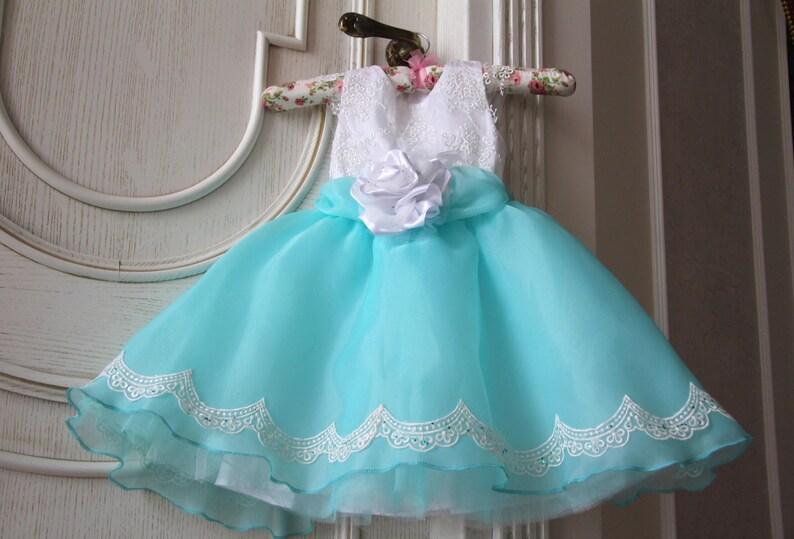 54fa15cd61b White turquoise flower girl dress  White lace girl dress