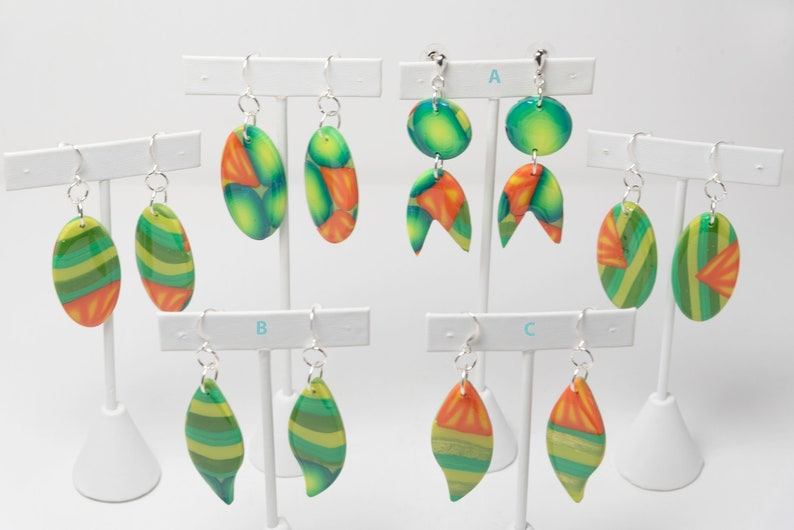 Gifts for Her Boho /& Hippie Jewelry Handmade Tropical Leaf Dangle Earrings Video One of a Kind Earrings Artist Made Mother/'s Day Gifts