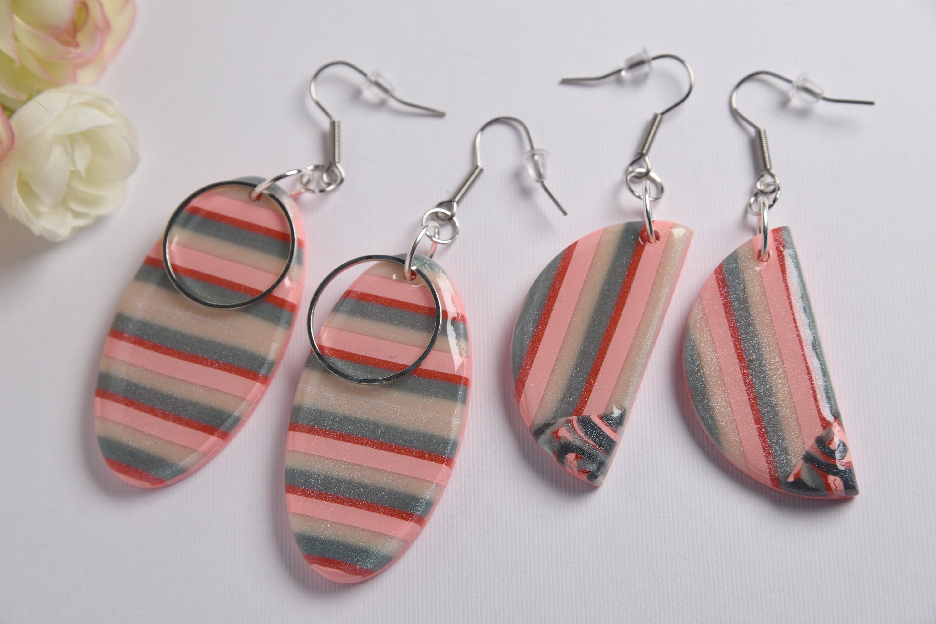 Turquoise Patterned Hoop Dangle Earring Stainless Steel Hypoallergenic Polymer Clay Handmade  