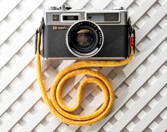 Custom camera strap - Stroppa Flat  Duo Yellow