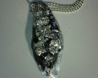 Black ice crystal pendant