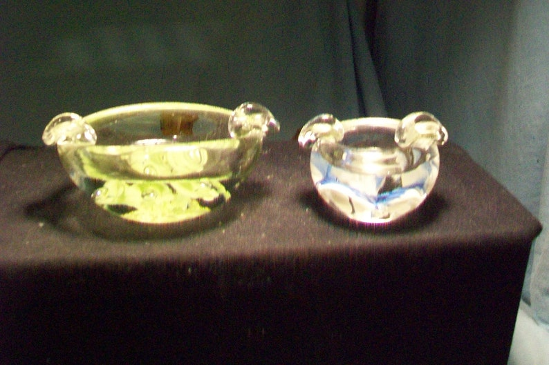 Two Unmarked St  Clair Paperweight Ashtrays