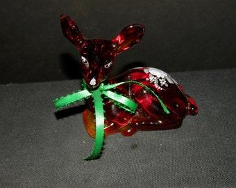 Fenton Red Hand Painted Deer Figurine
