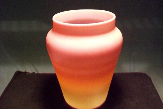 Hand Blown Pink Yellow Satin Glass Vase Etsy