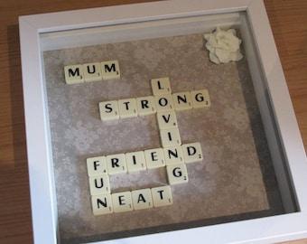 Personalised Scrabble Art gift for Mum
