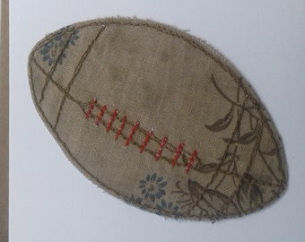 Original Textile Art Rugby Ball Card