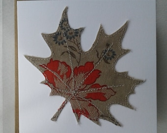Original Textile Art Hand Made Sycamore Leaf Greetings Card